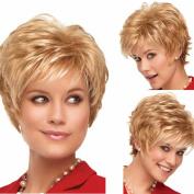 European And American Fashion Lady Short Hair Fluffy Micro Curls High Temperature Silk Wig