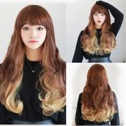 Wig Ladies Gradient Beige Long Curly Hair Fluffy Large Wavy Long Hair Curls