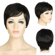 Women's BOB Short Wigs Heat Resist Synthetic Hair Full Wig with Central Parting & Full Fringe Daily Party Cosplay Dress