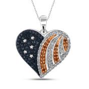 JewelonFire 1/3 CTTW Multi Colour Diamond Heart Pendant in Sterling Silver