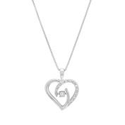 Marabela Sterling Silver Diamond with Rhythm Heart Pendant