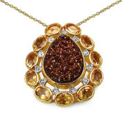 Malaika Yellow Goldplated Sterling Silver 5 1/6Ct Red Druzy And Citrine Pendant