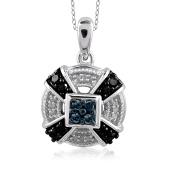 JewelonFire Sterling Silver 1/4ct TDW Multi Colour Diamond Pendant