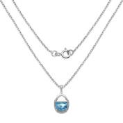 Malaika 4.08 Carat Genuine Swiss Blue Topaz & White Topaz .925 Sterling Silver Pendant