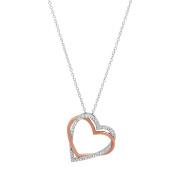 Marabela Sterling Silver Two-Tone Double Heart Pendant
