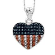 JewelonFire Sterling Silver 1/4ct TDW Multi Colour Diamond Heart Pendant