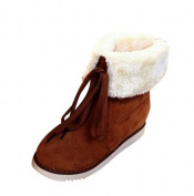 Indexp Flip Faux Fur Snow Boots, Women PU Leather Winter Warm Solid Lace-Up Flat Ankle Martin Shoes