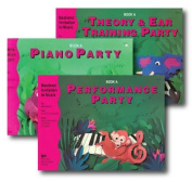Bastiens' Invitation to Music Level A - Three Book Set - Piano Party, Performance Party, and Theory & Ear Training Party Books