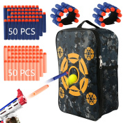 Target Pouch Bag with 100 Pcs Soft Foam Darts,2pcs Hand Wrist Band, Target Bag Storage Carry Target Equipment Bag for Nerf N-strike Elite, Mega and Rival Series