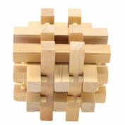 Wooden 3D IQ Brain Teaser Acacia Kong Ming Lock Puzzle Educational Toy for Kids and Adult by HARRYSTORE
