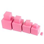 YiGooood Wooden Montessori Mathematics Toys Pink Tower Wood Cube 0.7-7CM Early Preschool Educational Gift