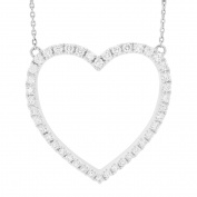 LONDON FINE jewellery 14K WHITE GOLD 0.58 CWT HEART SHAPED PENDANT