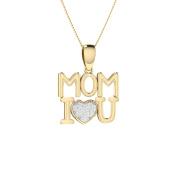 Trillion Designs 10k Yellow Gold 1/10 Ct Natural Round Cut Diamond I Love You MOM Pendant Necklace H-I I2