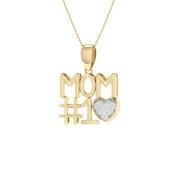Trillion Designs 10k Yellow Gold 1/10 Ct Natural Round Cut Diamond #1 MOM Heart Pendant Necklace H-I I2