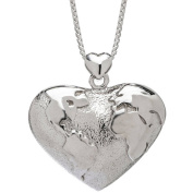 Lavaggi Jewellery Sterling Silver Global Heart Pendant Necklace, 46cm Chain