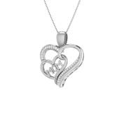 Trillion Designs S925 Sterling Silver 1/10 Ct Natural Round Cut Diamond MOM Heart Pendant H-I I2