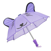 HUUATION 46cm Doll Umbrella Purple Cat Design Smiling Face Umbrella Play House Toy Fit for 46cm American Doll Clothes Accessory Our Generation Doll