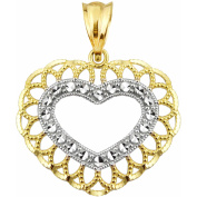 US GOLD 10kt Gold Scallop Frame Heart Charm Pendant