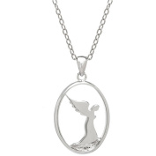 Lavaggi Jewellery Sterling Silver Petite Praying Angel Silhouette Pendant Necklace, 46cm Chain