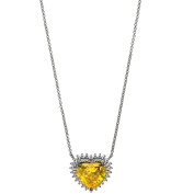 American Designs CZ and Yellow-Orange Citrine Crystal Sterling Silver Heart Love Necklace, 46cm Chain