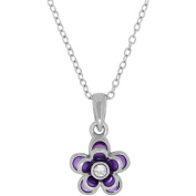 Simply Silver Kids' Sterling Silver Purple Enamel with Crystal Flower Pendant, 36cm