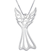 Lavaggi Jewellery Sterling Silver Love Angel Pendant Necklace, 46cm Chain