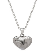 Lavaggi Jewellery Sterling Silver Petite Global Heart Pendant Necklace, 46cm Chain