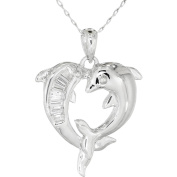 Simply Silver CZ Sterling Silver Double-Dolphin Pendant