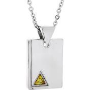 Star Trek Unisex Yellow Crystal Stainless Steel Square Pendant