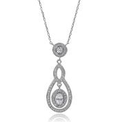 Brinley Co. Women's Sterling Silver CZ Drop Pendant Necklace
