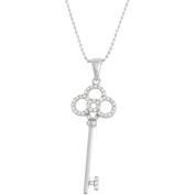 5th & Main Sterling Silver Clover Key Pendant with CZ Stones