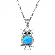 Lab Created Blue Opal and Genuine Cubic Zirconia Owl Pendant in Sterling Silver