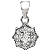 American Designs Pave CZ Sterling Silver Geometric Flower Charm Pendant