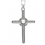 American Designs Cross Pave CZ Sterling Silver Religious Charm Pendant