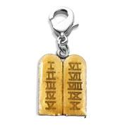 Ten Commandments Charm Dangle in Silver