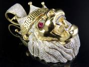 10k Yellow Gold 3D Lion Head Ruby Eyes Genuine Diamonds 3.75Ct 5.7cm