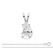 Pear Diamond Solitaire Pendant Necklace 14k White Gold