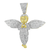 Baby Angel Pendant 10K Real Gold Simulated Diamonds Brand New .