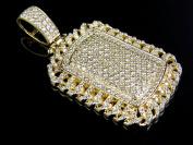 14K Yellow Gold Real Diamond Iced Miami Dogtag Bar Pendant 3.5ct 4.2cm