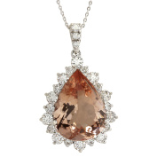 13.42CTW Natural Morganite And Diamond Pendant In 14K Solid White Gold