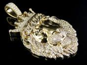 14K Yellow Gold Genuine Diamond King Lion Pendant Charm (2.50ct) 5.7cm