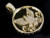 14K Yellow Gold Mid-Flight Eagle 5.1cm Medallion Diamond Pendant Charm 2.5ct.