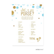 What's in Your Purse. Game Baby Blue Gold Glitter Baby Shower Games, 20-Pack