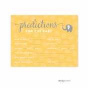 Predictions For Baby Yellow Gender Neutral Elephant Baby Shower Games, 20-Pack