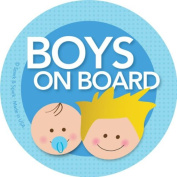 Boys on Board Car Sticker - Blonde boy+baby on board - Modern and Unique - Bright Colours