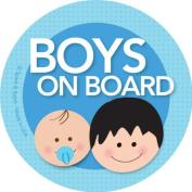 Boys on Board Car Sticker - Black hair boy+baby on board - Modern and Unique - Bright Colours