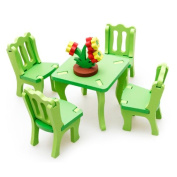 Voberry® Creative Fashionable Cute Animated New Lovely Educational 3D Home Dining Table Chairs Wooden Adults Children Funny Intelligent Stylish Kids Children Baby Games Toys Puzzles Gifts Presents