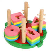 Baby Wood Geometric Shaped Sorter Block Toy Set Sorting Board+ 4 shape,5 colour Block