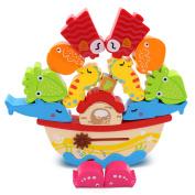 Wooden Boat Animal Balancing Blocks Baby Developmental Toys