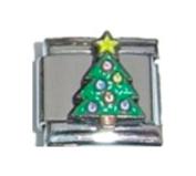 XMAS TREE WITH STAR CHRISTMAS Enamel Italian Charm 9mm - 1 x NC060 Single Bracelet Link
